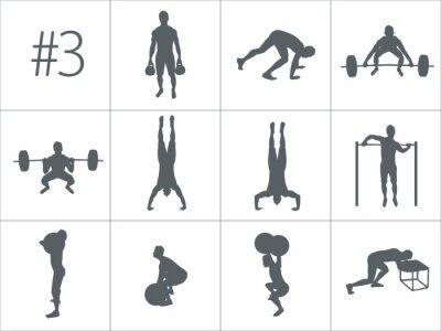 Naklejka Vector sylwetki ludzi robi fitness i crossfit workouts