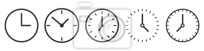 Naklejka Vector Time and Clock icons in thin line style.