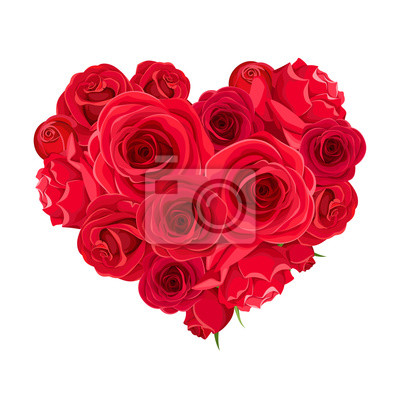 Naklejka Vector Valentine's day heart of red roses isolated on a white background.