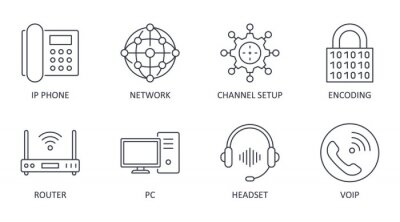 Naklejka Vector Voice over IP icons. Editable stroke. IP phone router network pc channel setup configuration encoding headset multimedia VoIP