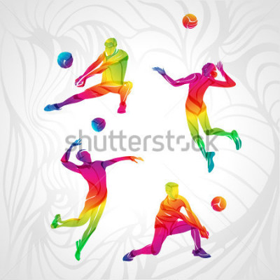Naklejka Vector volleyball silhouettes rainbow collection