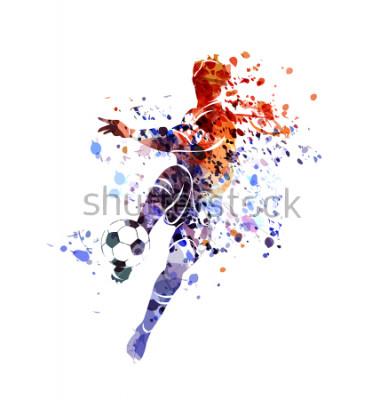Naklejka Vector watercolor silhouette soccer player