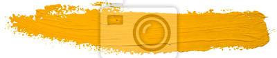 Naklejka Vector yellow oil brush stroke. Abstract varnish splash trace shape. Glossy oil paint smear long line on white background.