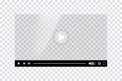 Naklejka Video player template interface. Blank mockup video player web UI design. Stock vector.