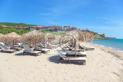 Naklejka View of the sand beach in tourist complex in Sveti Vlas, Bulgaria.