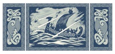Naklejka Viking design. Drakkar sailing in a stormy sea. In the frame of the Scandinavian pattern
