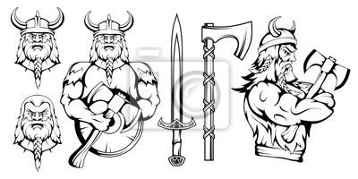 Naklejka viking warrior set, vector graphic to design