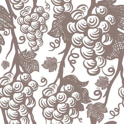 Naklejka Vine Seamless Pattern. Winogrona.