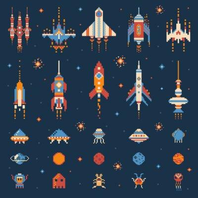 Naklejka Vintage 8 bit Space Game Icon Set