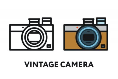 Vintage Antique Photo Film Camera. Koncepcja Sprzęt Fotograficzny. Minimalna linia płaski kontur ikona kreska.