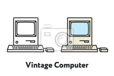 Vintage antyczne komputer osobisty kolor minimalna linia płaskich kontur ikona obrysu