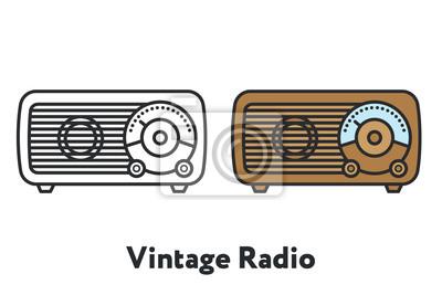 Vintage antyczne Retro Radio minimalny kolor linii płaskiej konturu obrysu ikona