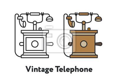 Vintage antyczne Retro telefon minimalny kolor linii płaskiej zarys ikona skoku