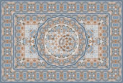 Naklejka Vintage Arabic pattern. Persian colored carpet. Rich ornament for fabric design, handmade, interior decoration, textiles. Blue background.