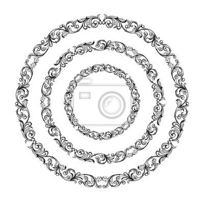 Vintage barokowy wiktoriański okrągły okrąg ramka granica monogram kwiatowy wygrawerowany przewiń ornament liść wzór kwiatowy wzór ozdobny tatuaż czarno-biały filigran wektor heraldyczny tarcza wirowa