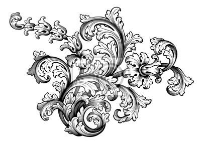 Vintage Barokowy wiktoriański rama granicy kwiat wzór wektor kwiatowy grawerowane przewijania ornament liść retro dekoracyjny projekt tatuaż czarny i biały filigran kaligraficzna tarczy herbowej wirow