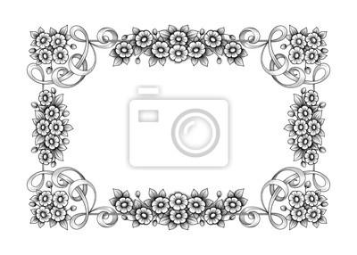 Vintage barokowy wiktoriański rama granicy monogram kwiatowy grawerowane przewiń ornament liść retro kwiatki wzór dekoracyjny tatuaż czarny i biały filigran wektor kaligraficzne tarczy herbowej