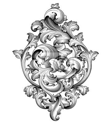 Vintage barokowy wiktoriański rama rogiem monogram kwiatowy wygrawerowany przewiń ornament liść retro kwiatowy wzór dekoracyjny projekt tatuaż czarno-biały filigran kaligrafia wektor tarcza heraldyczn