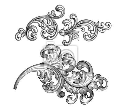 Vintage barokowy wiktoriański ramki granicy zestaw kwiatowy grawerowane przewijania ornament liść retro kwiat wzór dekoracyjny projekt tatuaż czarny i biały filigran wektor kaligraficzne tarczy herbow