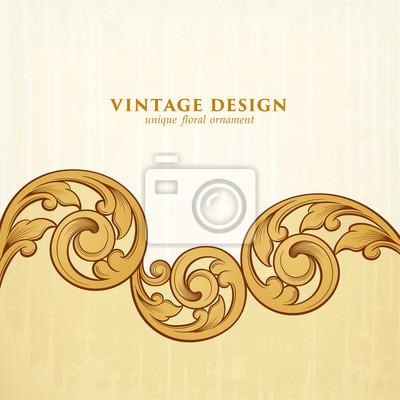 Vintage barokowy wiktoriański złoty ramka granica monogram kwiatowy wygrawerowany przewiń ornament liść retro kwiatowy wzór dekoracyjny projekt tatuaż filigran kaligrafia wektor tarcza heraldyczna tar