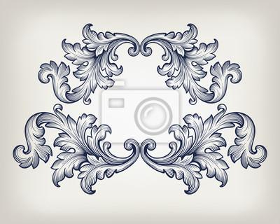 Vintage baroque frame scroll ornament vector