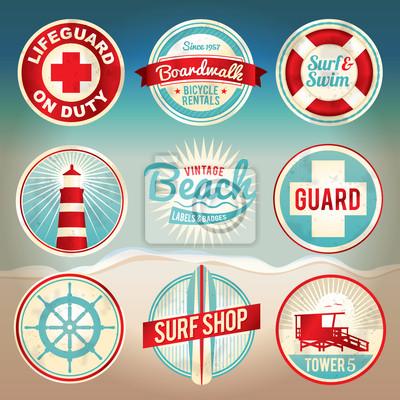 Vintage Beach Odznaki Etykiety