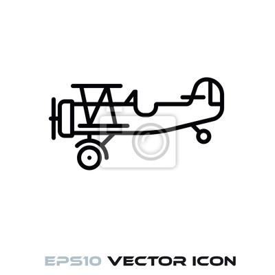 Vintage Biplane vector line icon