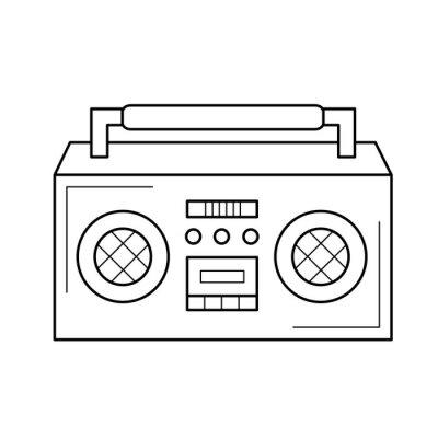 Vintage boombox wektor ikona linia na białym tle. Vintage linii ikona boombox infografikę, strony internetowej lub aplikacji. Ikona zaprojektowana w systemie gridowym.