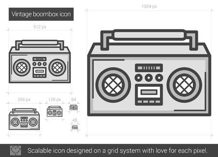 Vintage boombox wektor ikona linia na białym tle. Vintage linii ikona boombox infografikę, strony internetowej lub aplikacji. Skalowalna ikona zaprojektowana w systemie gridowym.