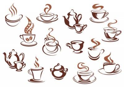Naklejka Vintage brązowe kubki kawy i garnki