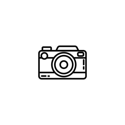 Vintage camera or retro camera flat line icon. Photo camera element vector stock isolated image on white background. Glyph pictogram for web, mobile, infographics