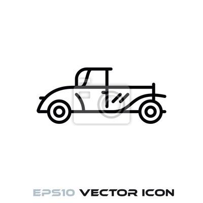 Vintage car vector line icon