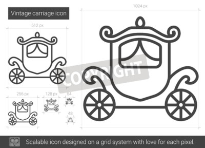 Vintage carriage vector line icon isolated on white background. Vintage carriage line icon for infographic, website or app. Scalable icon designed on a grid system.