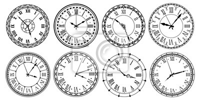Naklejka Vintage clock face. Retro clocks watchface with roman numerals, ornate watch and antic watches design. Antique elegant hour time clock. Isolated vector illustration icons set