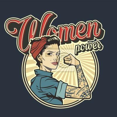 Naklejka Vintage colorful woman power badge