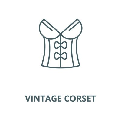 Vintage corset vector line icon, outline concept, linear sign