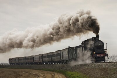 Naklejka Vintage czarny pociąg parowy