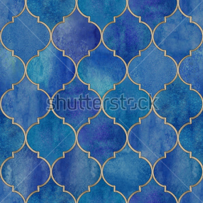 Naklejka Vintage decorative moroccan seamless pattern with glittering line. Watercolor hand drawn blue purple stained-glass window design. Watercolour oriental elements. Print for textile, wallpaper, wrapping.