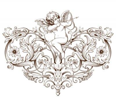 Naklejka Vintage element dekoracyjny grawerowanie z barokowym ornamentem wzór i amorek
