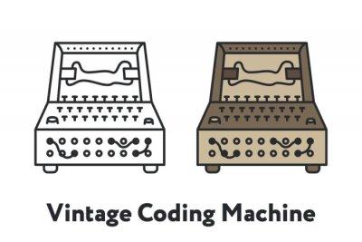 Vintage Enigma Coding Machine Minimal Color Flat Line Outline Stroke Icon