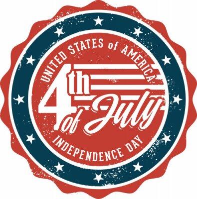 Naklejka Vintage Fourth of July USA Independence Day Stamp