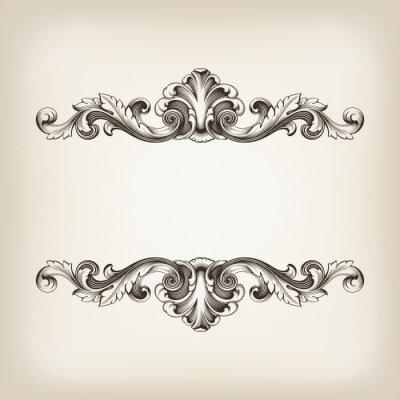 vintage frame border vector kaligrafia grawerowanie barokowy