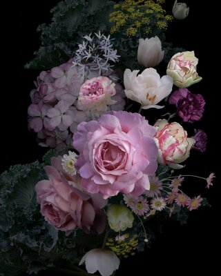 Naklejka Vintage garden flowers and decorative herbs on black background.
