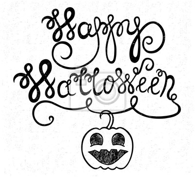 Vintage happy halloween typographical background with pumpkin on