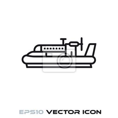Vintage hovercraft vector line icon