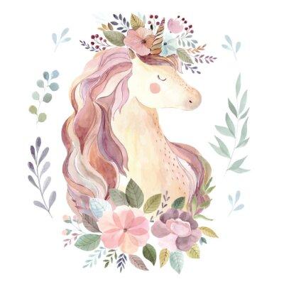 Naklejka Vintage ilustracji z cute jednorożca i wieniec kwiatowy