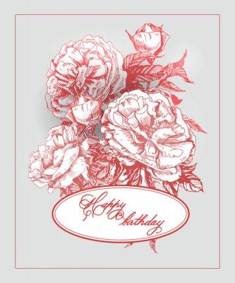 Naklejka Vintage Kartka urodzinowa z kwitnących róży i motyli. (Służy do pokładową, karty urodzinowe, zaproszenia, dziękuję karty). Ilustracja.