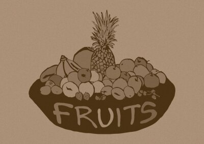 Naklejka Vintage kosz owoców