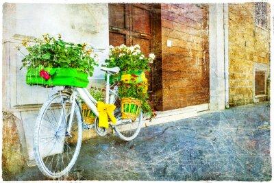 Naklejka Vintage kwiatowy rowerów - urokliwej ulicy dekoracji