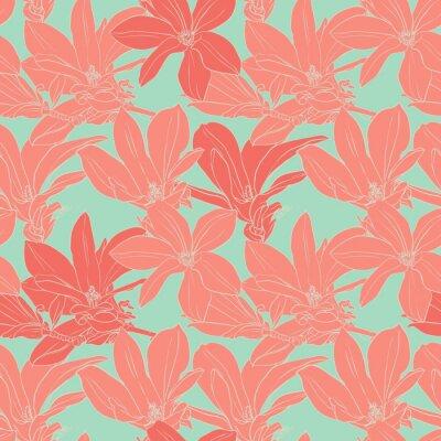 Naklejka Vintage kwiaty magnolii szwu.